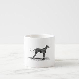Ejemplo del perro del galgo de los 1800s del vinta taza espresso