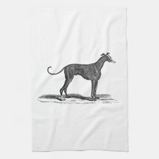 Ejemplo del perro del galgo de los 1800s del vinta toallas de cocina