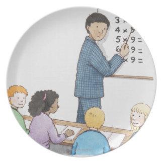 Ejemplo del profesor que señala en simple platos de comidas