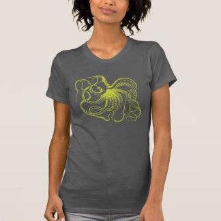 Ejemplo del pulpo del vintage de la verde lima camisetas