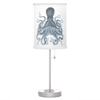 Ejemplo del pulpo del vintage de los azules lámpara de mesilla de noche