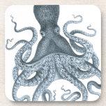Ejemplo del pulpo del vintage del gris azul posavaso
