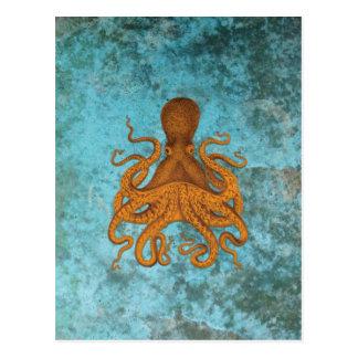 Ejemplo del pulpo del vintage en la turquesa postales