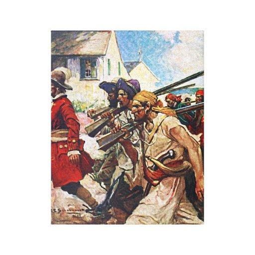 Ejemplo del Redcoat de los piratas que marcha: Lona Envuelta Para Galerias