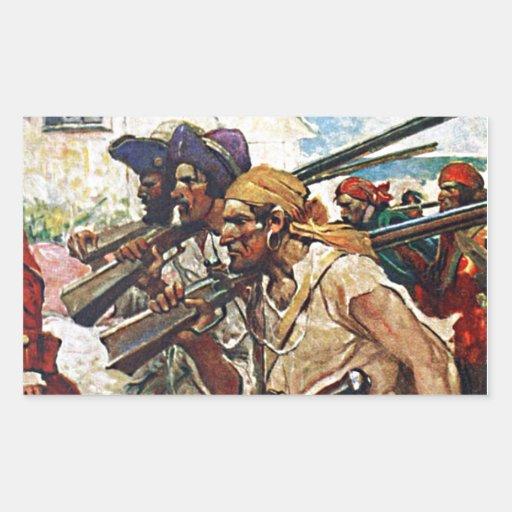 Ejemplo del Redcoat de los piratas que marcha Rectangular Pegatina