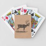 Ejemplo del reno del vintage - navidad 1800's baraja cartas de poker