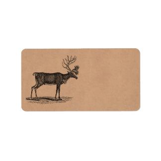 Ejemplo del reno del vintage - navidad 1800's etiqueta de dirección