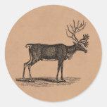 Ejemplo del reno del vintage - navidad 1800's etiqueta redonda