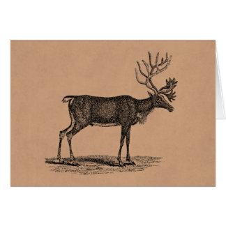 Ejemplo del reno del vintage - navidad 1800's tarjeta pequeña