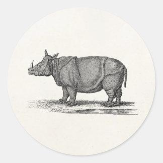 Ejemplo del rinoceronte de los 1800s del vintage - pegatina redonda