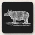 Ejemplo del rinoceronte de los 1800s del vintage - posavaso