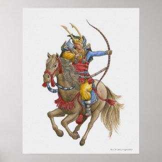 Ejemplo del samurai que celebra a caballo el arco póster