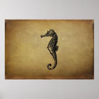 Ejemplo del Seahorse del vintage Póster