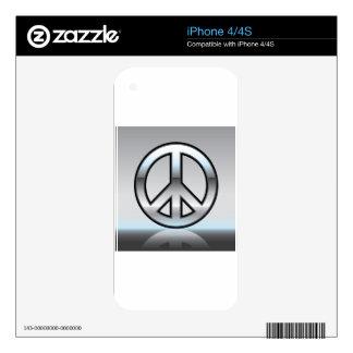 Ejemplo del signo de la paz metálico skins para eliPhone 4