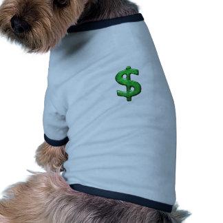 Ejemplo del símbolo de la muestra del dinero del camiseta con mangas para perro