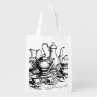 Ejemplo del sistema del té y de café del vintage bolsas de la compra