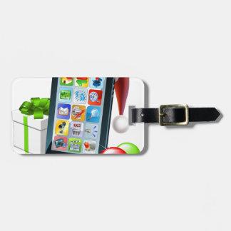 Ejemplo del teléfono móvil del navidad etiquetas de maletas