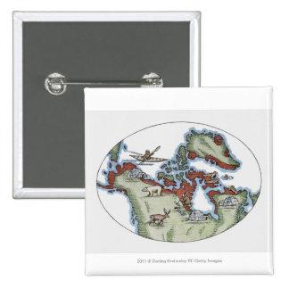 Ejemplo del territorio del Inuit Pin Cuadrado