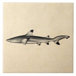 Ejemplo del tiburón del filón del vintage - negro  azulejo cuadrado grande