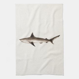 Ejemplo del tiburón del vintage - plantilla retra  toalla de cocina