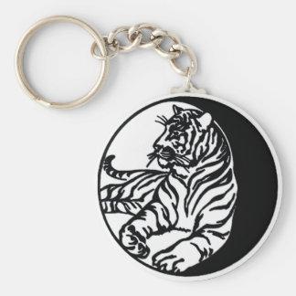 Ejemplo del tigre en blanco llavero redondo tipo pin