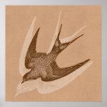 Ejemplo del trago del vintage - pájaro antiguo 180 posters