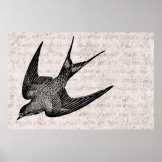 Ejemplo del trago del vintage - pájaro antiguo 180 póster