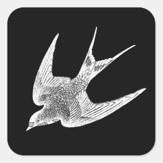 Ejemplo del trago del vintage - pájaro antiguo pegatina cuadrada