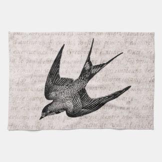 Ejemplo del trago del vintage - pájaro antiguo toallas de cocina