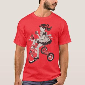 Ejemplo del triciclo de los años 60 del vintage playera