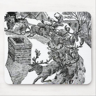 Ejemplo del trineo de Santa del vintage Alfombrillas De Ratón