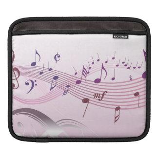 Ejemplo del vector de enrollar notas musicales mangas de iPad