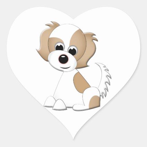Ejemplo del vector de un perrito calcomania de corazon
