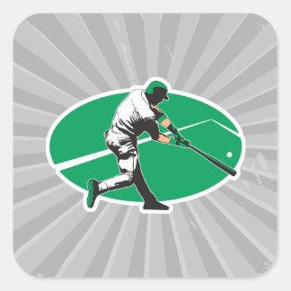 ejemplo del vector del bateador del béisbol pegatina cuadrada