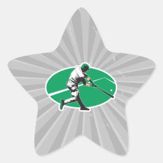 ejemplo del vector del bateador del béisbol pegatina en forma de estrella