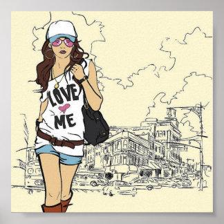 Ejemplo del vector del chica de la moda póster