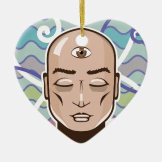 Ejemplo del vector del tercer ojo adorno navideño de cerámica en forma de corazón