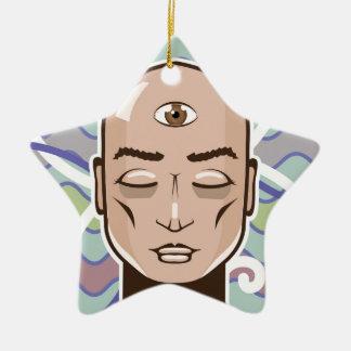 Ejemplo del vector del tercer ojo adorno navideño de cerámica en forma de estrella