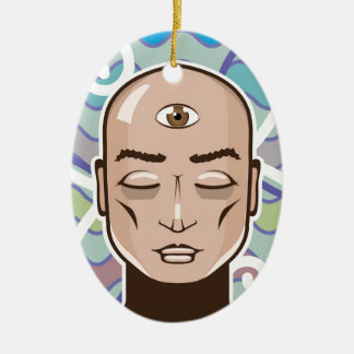 Ejemplo del vector del tercer ojo adorno navideño ovalado de cerámica