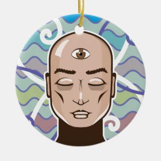 Ejemplo del vector del tercer ojo adorno navideño redondo de cerámica