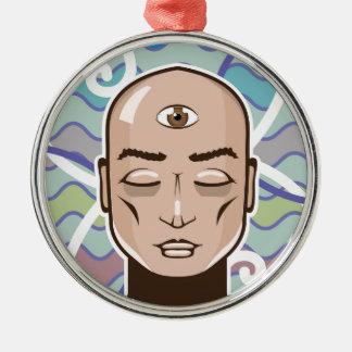 Ejemplo del vector del tercer ojo adorno navideño redondo de metal