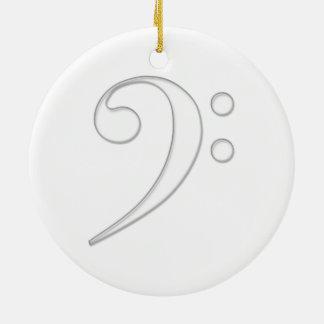 Ejemplo del vidrio del clef bajo adorno navideño redondo de cerámica