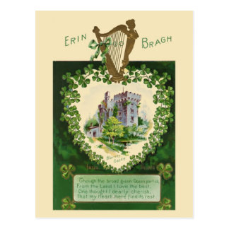 Ejemplo del vintage - castillo y arpa irlandeses tarjetas postales
