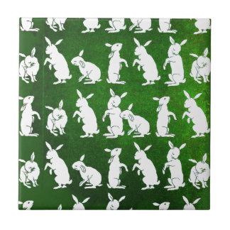 Ejemplo del vintage de conejitos en verde azulejo cuadrado pequeño