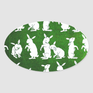 Ejemplo del vintage de conejitos en verde pegatina ovalada