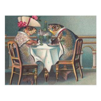 Ejemplo del vintage de la cena de los pescados postales