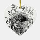ejemplo del vintage de la jerarquía del pájaro adorno navideño de cerámica en forma de corazón