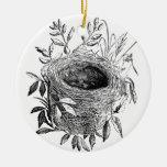 ejemplo del vintage de la jerarquía del pájaro adorno navideño redondo de cerámica