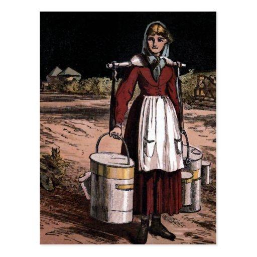 "Ejemplo del vintage ""de la lechera"" postal"
