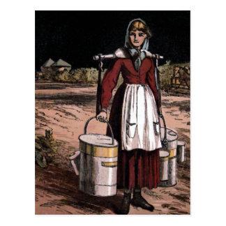 "Ejemplo del vintage ""de la lechera"" tarjetas postales"